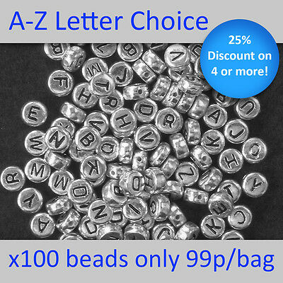 100 Silver Alphabet Round Beads Letters A-Z