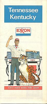 1980 EXXON OIL Road Map KENTUCKY TENNESSEE Nashville Lexington Louisville Tiger