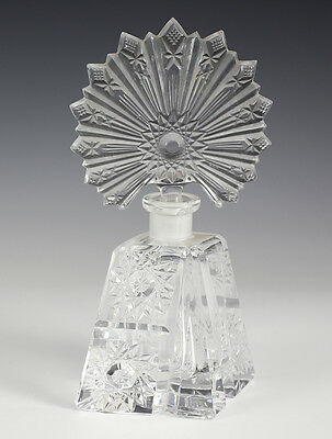 Czech Bohemia Pressed glass Stopper with Crystal Perfume Bottle Flacon.