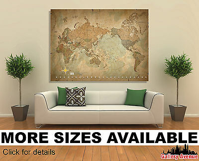 Wall Art Canvas Picture Print - Antique Old Vintage World Map Star 3.2