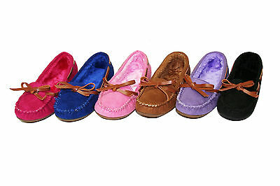 Kid Girl's Loafers Flats Shoes Faux Fur Lined Moccasin Slippers (KM-01)
