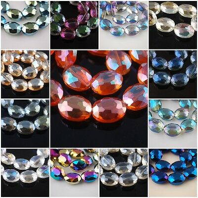 Nice Lampwork Glass Crystal Flat Oval Spacer Beads Craft Jewelry Finding 20x16mm