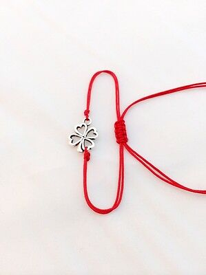 3X RED KABBALAH STRING BRACELET WITH LUCKY FOUR LEAF CLOVERS, BABY & ADULT SIZE,