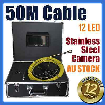 50M Snake Cable Under Water Sewer Drain Pipe Wall Inspection Endoscope Camera