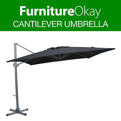 Outdoor Black 3m/3.5m Garden Patio Pool Deck Market Shade Cantilever Umbrella
