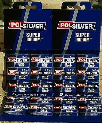 POLSILVER 5/10/25/50/100  Super Iridium DE Double Edge razor blades UK stock