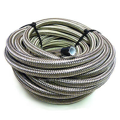 "AN -6 AN6 5/16"" 8MM Stainless Steel Braided PTFE Fuel Hose Pipe 1/2 Metre"