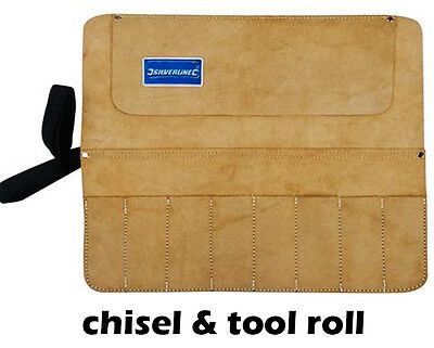 Leather CHISEL & TOOL Roll Split Suede 8 Pocket Storage Holder Carrier UK U267