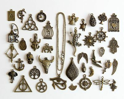Multiple Design Antique Bronze Charm Pendant with Ball Chain Necklace