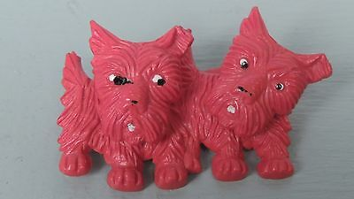 Kinetic Red Plastic (2) Double Scottish Terrier Dogs Pin - Scottie Scotty Brooch