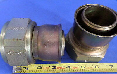 "Parker 1 1/4"" Flange Head Straight Fitting Nnb, Lot Of 2"