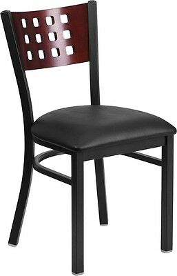 Cutout Back Metal Restaurant Chair with Mahogany Wood Back,and Black Vinyl Seat