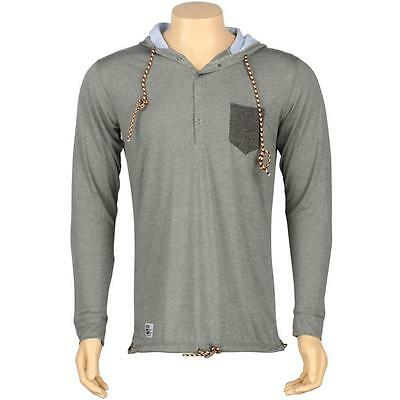 $40 ARSNL Frost Henley Hooded Long Sleeve Tee (grey speckle)