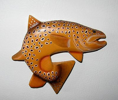Brown Trout Carved Wooden Magnet