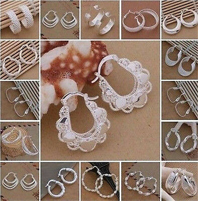 NEW Chic Fashion Women Lady Jewelry 925Solid Silver Hoops Earrings XMAS GIFT