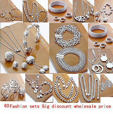 Lady Jewellery 925Solid Silver Sets Bracelet Necklace Ring Earrings Set
