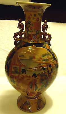 VINTAGE ASIAN SATSUMA VASE WITH GEISHAS AND TRIMMED IN GOLD..DECORATIVE HANDLES
