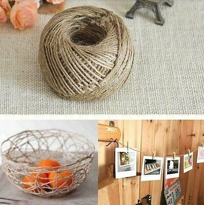 FD107 10M 3-Ply Twisted Burlap String Natural Ribbon Fiber Jute Twine Rope Toy #