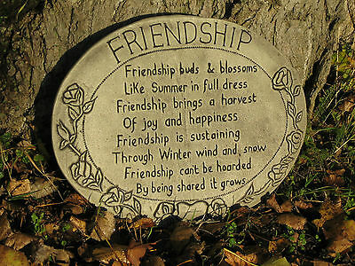 Friendship wall plaque stone garden ornament | More ornaments in my shop!