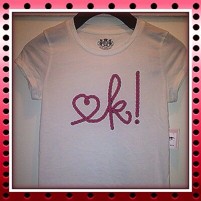 """Juicy Couture Girls Angel """"OK!"""" Graphic T-Shirt Top NWT Sz. 10"""