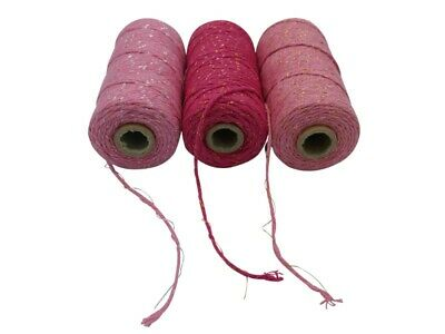 1 x Roll Pink Cotton Twine - Choose Gold Or Silver - Gift Wrapping - DIY