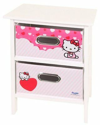Hello Kitty 2 Drawer Bedroom Storage in White and Pink