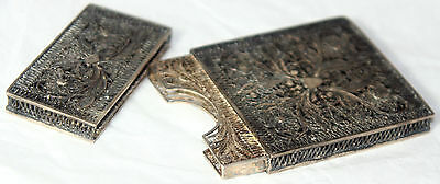 ORIGINAL ANTIQUE c1840~~STERLING Filigree CARD CASE~~VICTORIAN GoRgEoUs
