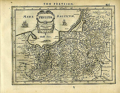 1651 Genuine Antique map of Prussia, Baltic Sea. Mercator/Jansson