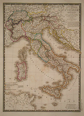 1828 Genuine Antique hand colored map of Italy.  A.H. Brue