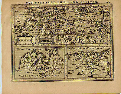 1651 Genuine Antique map of northern Africa. Barbaria, Egypt, Carthagi. Jansson