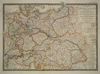 1830 Genuine Antique hand colored map of Central Europe.  A.H. Brue