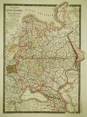 1826 Genuine Antique hand colored map of Russia in Europe. by A.H. Brue