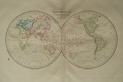 1833 Genuine Antique hand colored map of the World in hemispheres.  A.H. Brue