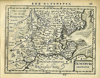 1651 Genuine Antique map NW Germany, Oldenburg. Mercator/Jansson