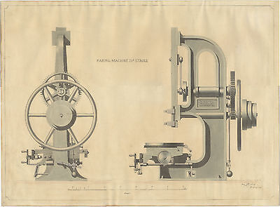 1849 ORIGINAL machine tool drawing NASMYTH GASKELL & CO. Manchester SUPERB!