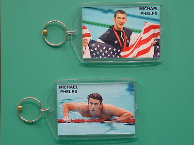 MICHAEL PHELPS - Olympics - with 2 Photos - Designer Collectible GIFT Keychain