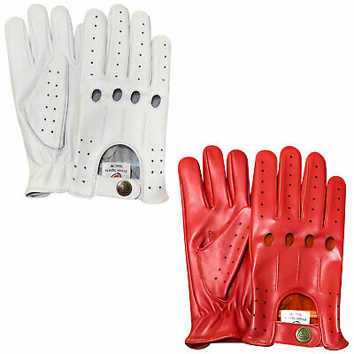 New prime top quality real soft leather driving gloves white red DG-507