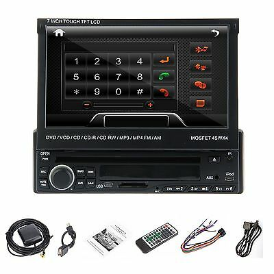 "7"" Single 1 Din In DECK Car Radio Stereo DVD Player Bluetooth SD USB Touch CD FM"
