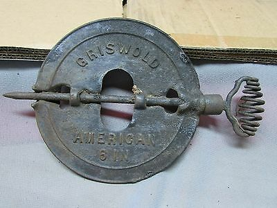 """Antique Cast Iron 6"""" Stove Damper  Reversible Steel Spindle Griswold, SOLD AS IS"""