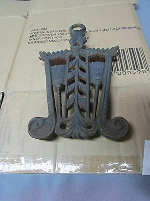 Antique Collectible Cast Iron Trivet with 4 footed legs,2 Broom Design, Fancy !