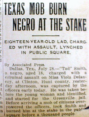 1908 newspaper NEGRO LYNCHED at CLINTON Hunt Co TEXAS  burned alive at the stake