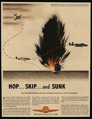 1943 WWII B-25 Mitchell Bomber Airplanes - Skip Bombing - SHELL Oil  VINTAGE AD