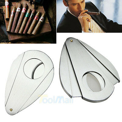 Pocket Stainless Steel Double Blades Silver Cigar Cutter Scissor Shears Tool