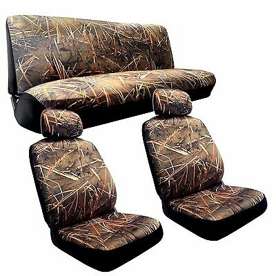 Swamp Camo Seat Cover Set Muddy Water Camouflage Front Rear