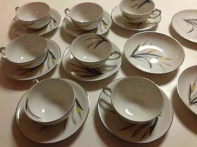 Sango Yellow Cattail 7 Cup & Saucers, 2 Bread Plates & 2 Small Bowls 18 Pcs