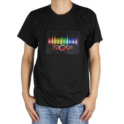 Sound activated LED Detachable EL Panel Light Music T-Shirt Party clothes S-3XL