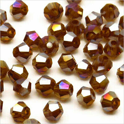 Lot de 40 Perles en Cristal Toupies 4mm Marron irisé