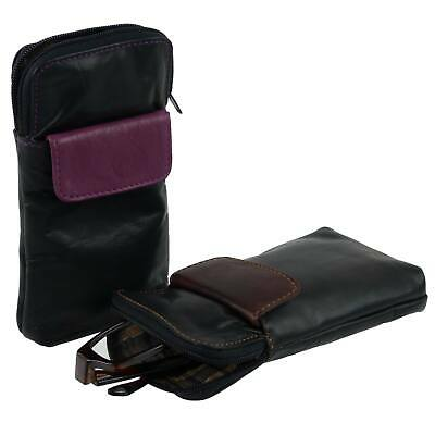 NEW Soft Leather Zipped Glasses Spectacles Case Holder by Golunski Handy Pocket