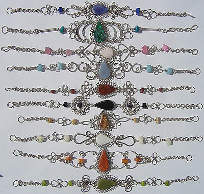 Lot 8 Alpaca Bracelets with Natural  Peruvian Stones and Nugget Stones Jewelry