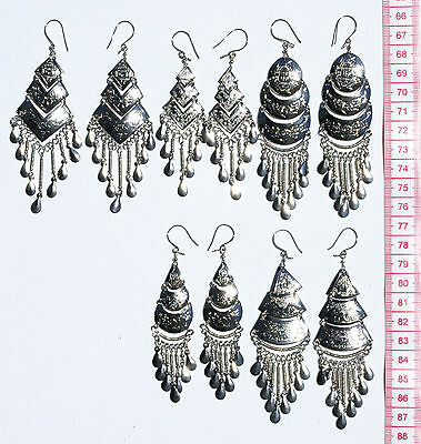 Lot 5 Pairs Peruvian Ethnic Tribal Earrings Handcrafted Metal Jewelry Sale Peru